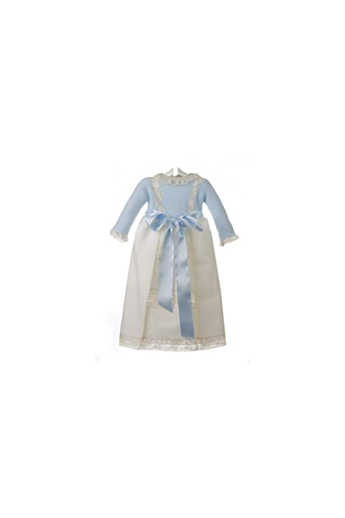 557991d0a Isabel Maria - Faldón para bebé con el cuerpo tejido en punto bobo y la  falda de piqué con entredoses ...