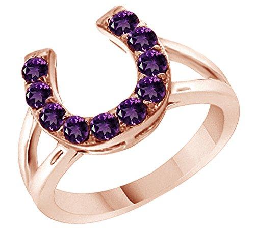 Amethyst Horseshoe Ring in 14k Rose Gold Over Sterling Silver (0.46 Cttw) (Silver Horseshoe Lady Ring)