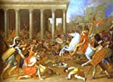 Hand painted oil painting - 48 x 35 inches / 122 x 89 CM - Nicolas Poussin - The Destruction of the Temple in Jerusalem