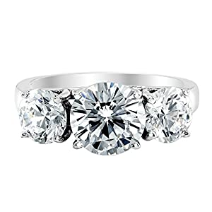 1 Carat 14K White Gold Round Cut 3 Three Stone Diamond Engagement Ring (K L Color I2 Clarity)