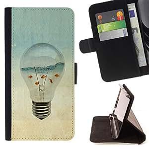 BullDog Case - FOR/Samsung Galaxy Core Prime / - / aquarium gold fish ocean sea art light bulb /- Monedero de cuero de la PU Llevar cubierta de la caja con el ID Credit Card Slots Flip funda de cuer