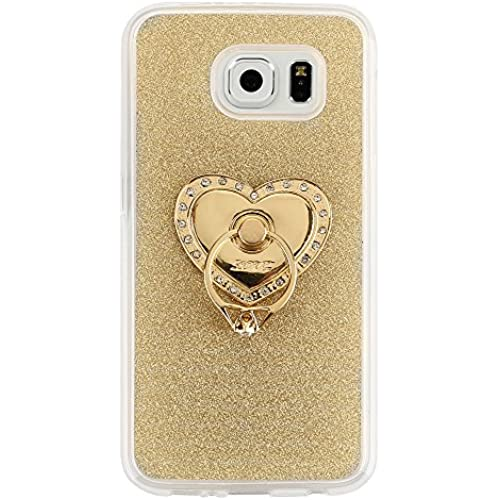 Galaxy S7 Case, G-i-Mall Flexible Premium Ulta Slim Soft Silicone Case with Multi-Angle 360 Rotation Portable Crystal Diamond Heart Ring Stand Phone Stand Proctive Sales