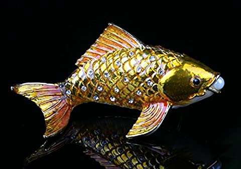 Promotion Fish Figurine Art Souvenir Crystal Cute Fish Jewelry Ring Holding Trinket (Gold) - Crystal Fish Figurine