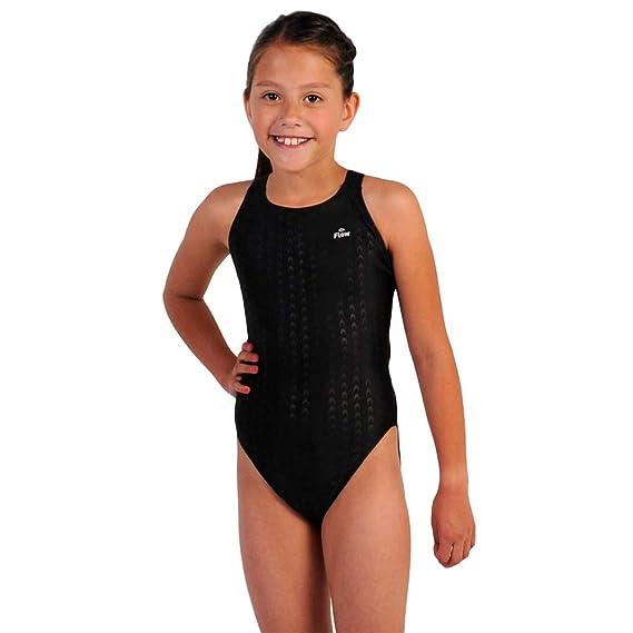 f585f59c89 Amazon.com  Flow Girls Swimsuit - One Piece Racerback Competitive Swim Suit  Kids Sizes 23 to 30 in Black