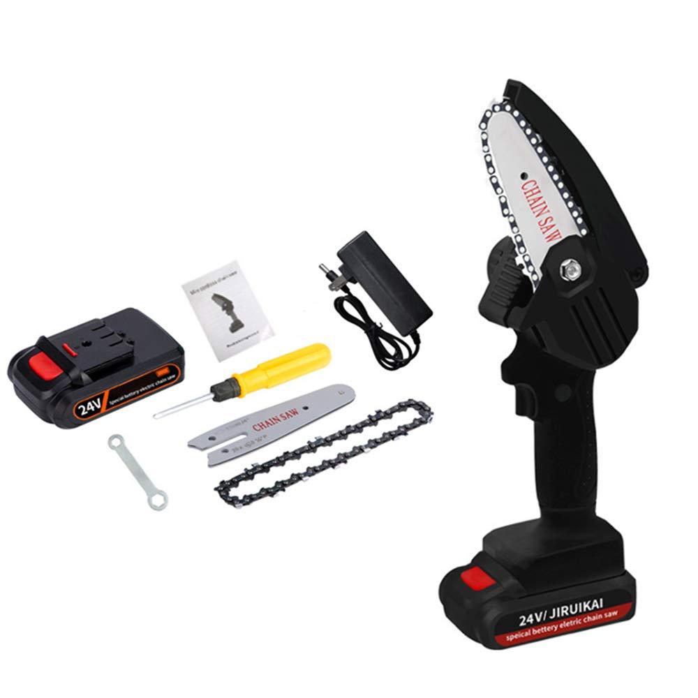 MINI Motosierra podadora eléctrica recargable de 24V 550W sierra de cadena inalámbrica cortadora ajustable de árboles frutales jardín uso diario (Negro)