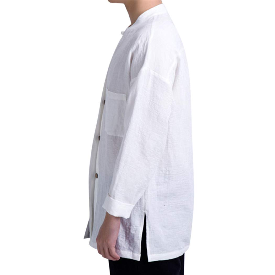 Man Shirts Tops Solid Long Sleeve Shirt Man Autumn Cotton Linen Retro Stand Collar