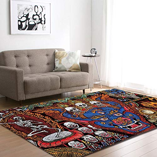 Carpet Nordic Halloween 3D Skull Ghost Area Rugs Decorative Horror Pumpkin Play Pad Boy's Room Flannel Game Mats Carpet for Living Room
