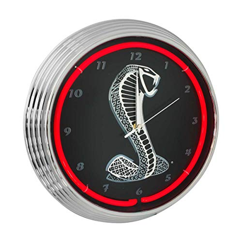 Blue Oval Industries Mustang Cobra Red Neon Wall Clock, 15-Inch
