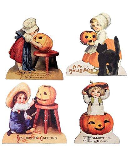 Little Halloween Children Wood Dummy Boards Set of 4 Bethany Lowe New