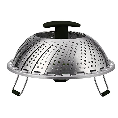 Vegetable Steamer Basket For Cooking Foods With Stainless Steel Strainer and Removable Handle, Expandable and Collapsible(7.1 inches to 11 inches,Black + Silvery) (Black)