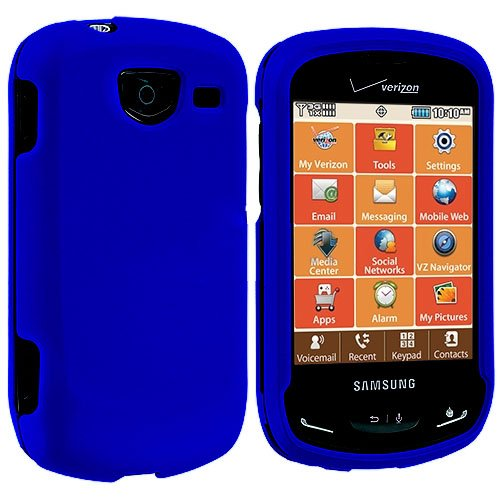 Importer520 Rubberized Hard Protector Case Cover for Samsung Brightside U380, Blue - Samsung Brightside Case Blue