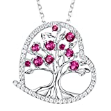 Created Red Ruby Fine Jewelry The Tree of Love Pendant Necklace Gifts for Women Birthday Anniversary Gifts for Her for Wife Girlfriend Fiancee Grandma Sterling Silver 18''+2'' Chain
