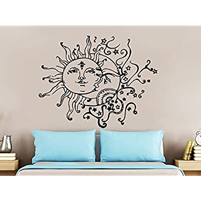 Wall Decal Sun Moon Sunshine Stars Crescent Dual Ethnic Night Symbol Vinyl Sticker Decals Nursery Home Decor Bedroom Art Interior NS821: Baby [5Bkhe0305696]