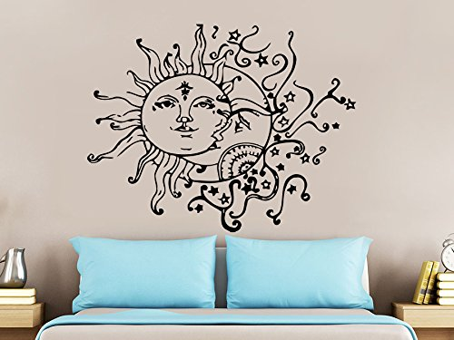 Wall Decal Sun Moon Sunshine Stars Crescent Dual Ethnic Night Symbol Vinyl Sticker Decals Nursery Home Decor Bedroom Art Interior NS821