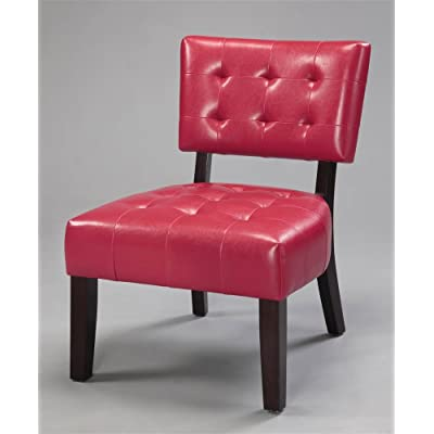 Amazon.com: Roundhill Furniture Blended Leather Tufted Accent Chair ...