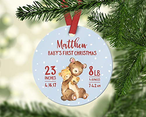 Cheyan First Christmas Ornament Baby Boy First Christmas Ornament Baby Personalized Babys First Christmas Ornament Cute Red Snow Bear Dates ()