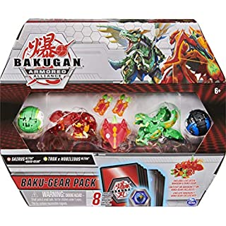 Bakugan Baku-Gear 4-Pack, Sairus Ultra with Baku-Gear and Fused Trox x Nobilious Ultra Collectible Action Figures