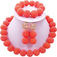 laanc Nigerian Wedding African Beads Jewelry Set Women Simulated Pearl Necklace and Earrings