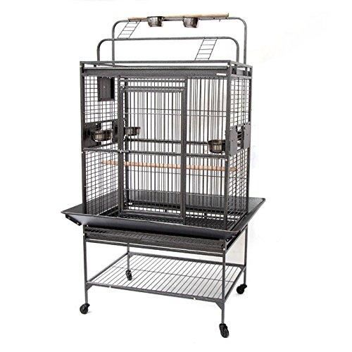 Grey Palace Play Top Bird Cage Parrot Aviary (Large)