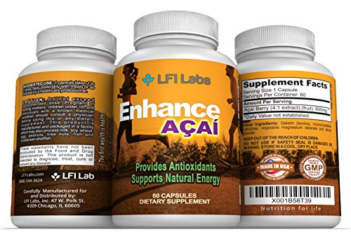 Acai Berry Cleanse Detox Supplement– Superfood Antioxidant for Natural Weight Loss, Anti-Aging, Digestive & Cardiovascular Health – American Made with Anthocyanins & Fiber – 60 Capsules 600mg