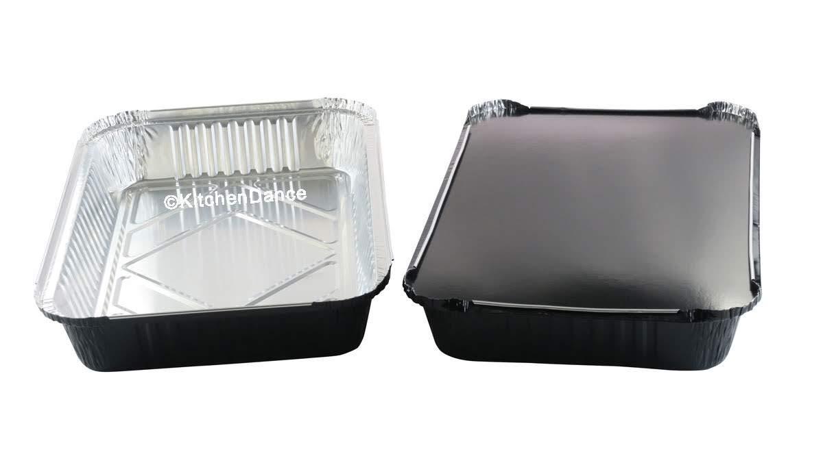 KitchenDance Disposable Colored Aluminum 4 Pound Oblong Pans with Board Lids #52180L (Black, 50)