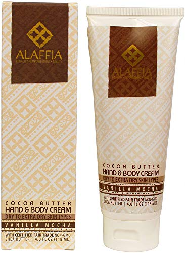 (Alaffia - Cocoa Butter Hand and Body Cream, For Dry to Extra Dry Skin, Moisturizing Support for Smooth, Soft, and Radiant Skin with Cocoa and Shea Butter, and Palm Kernel, Vanilla Mocha, 4 Ounces)