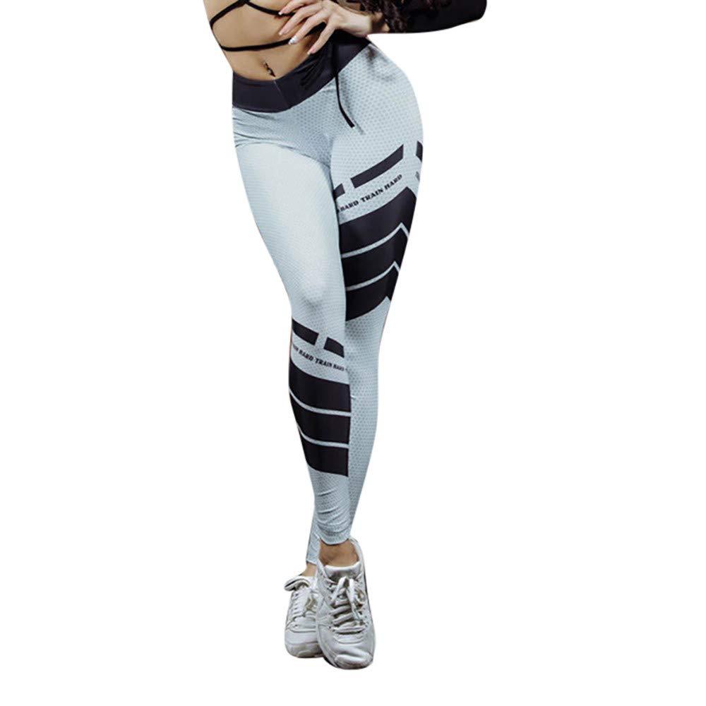 Pantalones Yoga Mujeres, Yusealia Mediados de Cintura Leggins Fitness Pantalones Carta de Impresión Elasticidad Moda Empalmada Pantalones De Correr Leggings EláSticos De Flaco Fitness Leggins Mujer