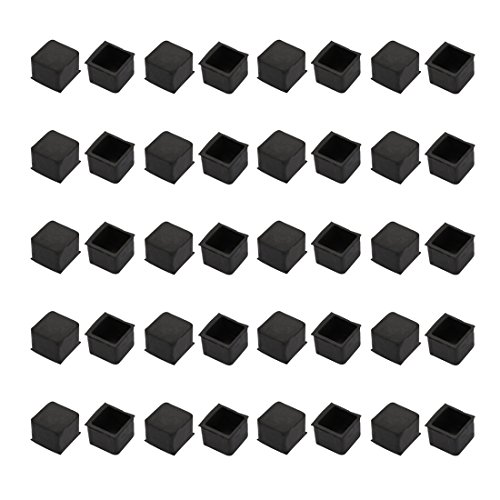 uxcell 40pcs Furniture Desk Chair Accessory 20mmx20mm Square Rubber Leg Tip Cap Black by uxcell