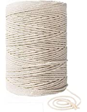 3mm 656ft Macrame Cotton Cord,Not Dyed,Natural Color Handmade Soft 4-Strand Cotton Cord Rope for Macrame,Wall Hanging,Plant Hanger,DIY Craft Making,Knitting,Home Decoration (3mm x 200m(about 218 yd))