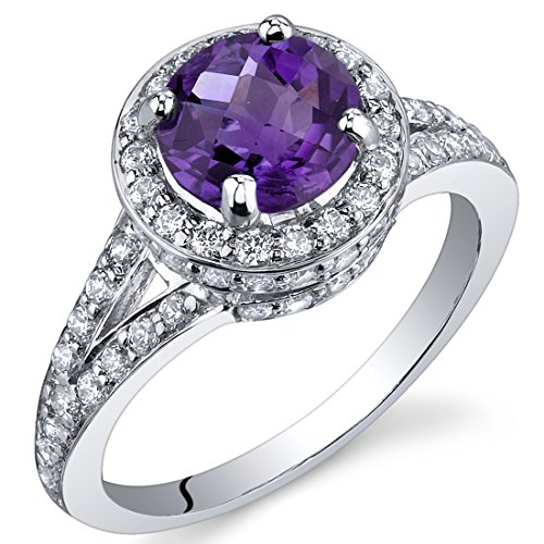 Majestic Sensation 1.25 Carats Amethyst Ring in Sterling Silver Rhodium Nickel Finish Size 9