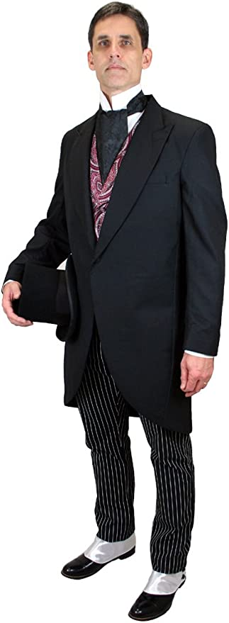 Edwardian Men's Formal Wear Tuxedo Cutaway Coat Historical Emporium Mens Traditional $177.95 AT vintagedancer.com