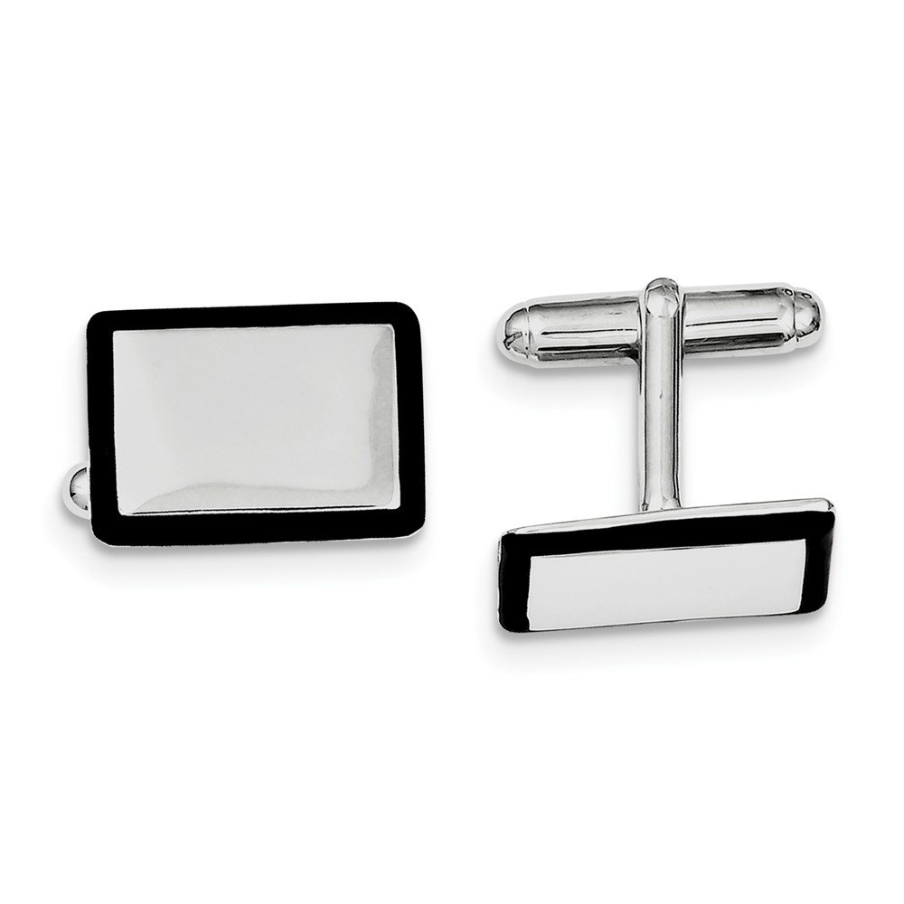 Jewelry Best Seller Sterling Silver Rhodium-plated and Black Enamel Cuff Links