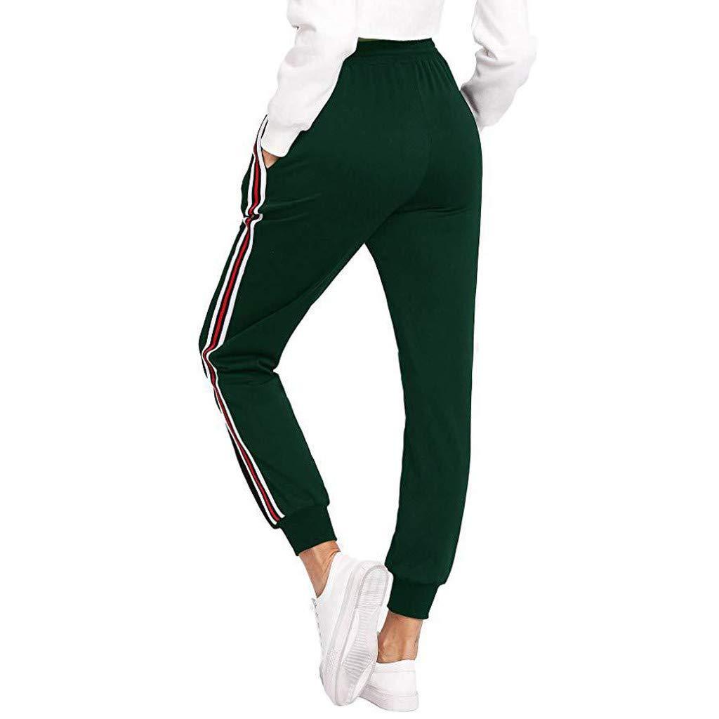 Donna Pantaloni a Vita Alta Elasticizzati Mutandine a Strisce di Colore Puro-Maniche Skinny Sportwear per Yoga Jogging Fitness Pantaloni Sportivi da Donna Zarupeng
