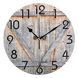 Naanle 3D Stylish Wooden Barn Door Print Retro Round Wall Clock Decorative, 9.5 Inch Battery Operated Quartz Analog Quiet Desk Clock for Home,Office,School
