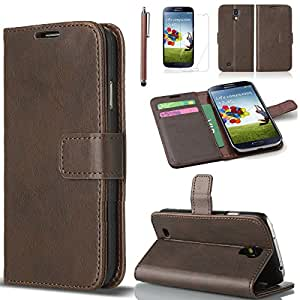 Celio Samsung Galaxy S4 i9500 Flip PU Leather Wallet Case with Build In Stand and Card Slots/ Holders + Stylus + Screen Protector (Coffe)