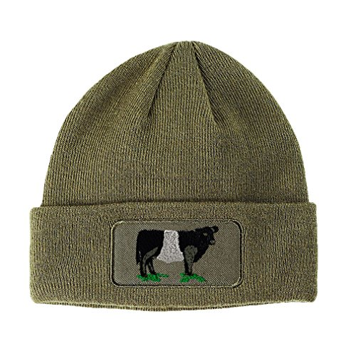 Speedy Pros Belted Galloway Embroidered Unisex Adult Acrylic Patch Beanie Warm Hat - Olive Green, One Size ()