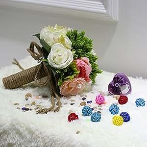 EmiQueen(TM) Vintage Neverland Valley Ranch Hemp Rope Handcraft Bridal Flower Wedding Bouquet Flowers Bridal Exquisite Bouquet Bridesmaid Hold Flower