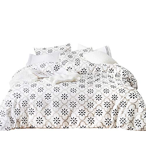 Black White Contemporary Bedding - SUSYBAO 3 Pieces Duvet Cover Set 100% Natural Cotton King Size White and Black Floral Quatrefoil Print Bedding with Zipper Ties 1 Duvet Cover 2 Pillowcases Luxury Quality Soft Durable Comfortable