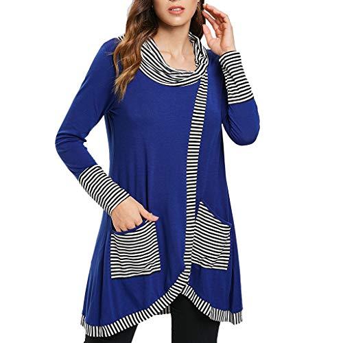 Tee Blouse Pockets Sleeve Striped Fashion Long Casual Lckygirls Womens Patchwork Top Bleu Print PARqOnzf