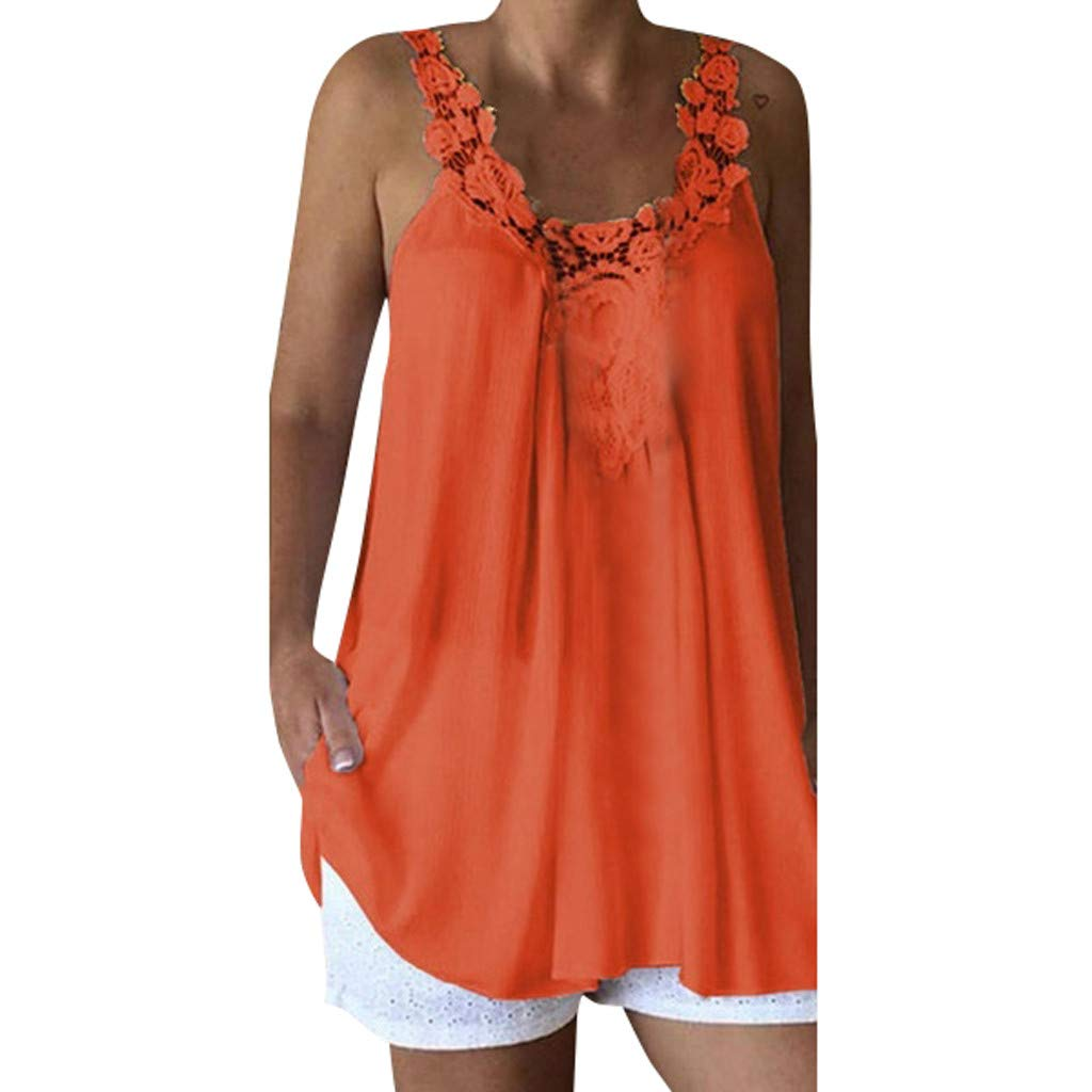 Women Sleeveless Tank Tops Casual Lace Splice Comfy Loose Solid Top Vest Blouse (S, Orange)