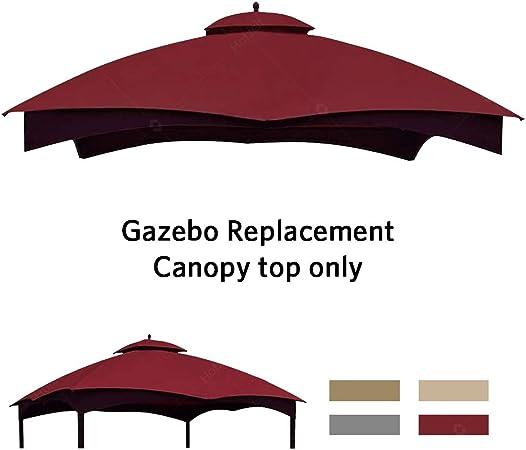 Amazon Com Hofzelt Outdoor Gazebo Replacement 10 X12 Canopy Soft Top 2 Tier Patio Canvas Cover For Lowe S 10 X 12 Gazebo Model Gf 12s004bto Gf 12s004b 1 Burgundy Garden Outdoor