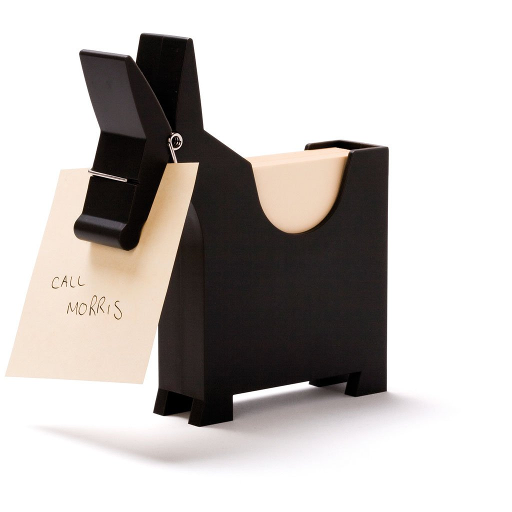 Morris the Donkey - Desktop Note Pad, Note Dispenser and Pen Holder, for Memo, Notes, Bock of 140 Blanks, Black/Red/White.