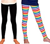 Syleia Girl Leggings High Rise 2 Pairs Set Bright Stripes & Black (Small)