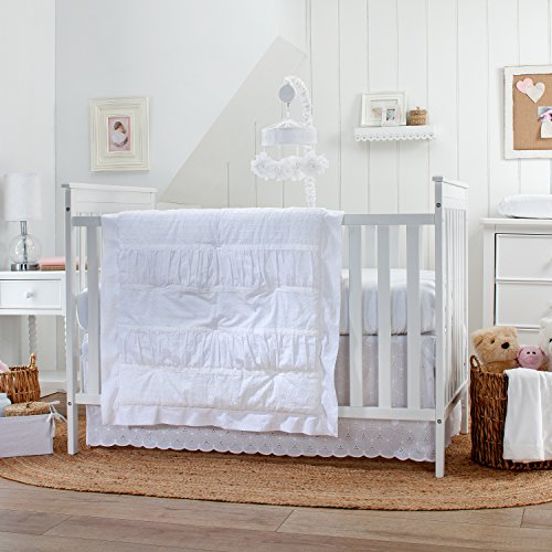 Carter's Lily 3 Piece Crib Bedding Set, White (Bedding Sets Carters Baby)