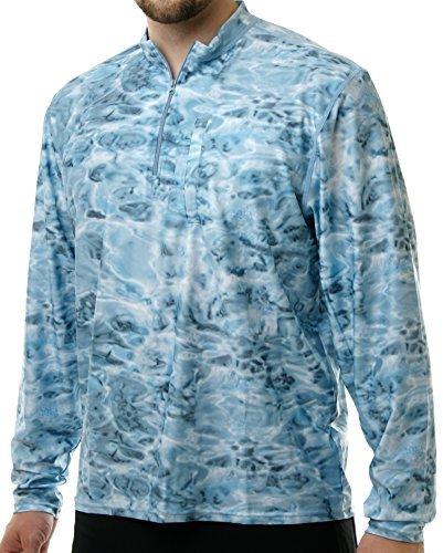 Aqua Design Mens 1/4 Zip Long Sleeve UPF UV Rash Guard Shirt, Aqua Sky, 2XL