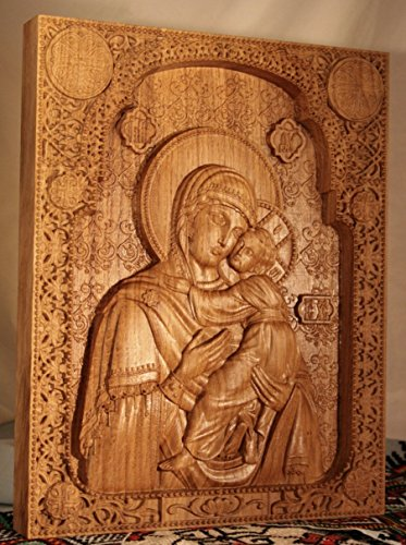 Virgin Mary and Baby Jesus Orthodox Icon Durable unique christian gift Wood Carved religious wall plaque FREE ENGRAVING FREE SHIPPING