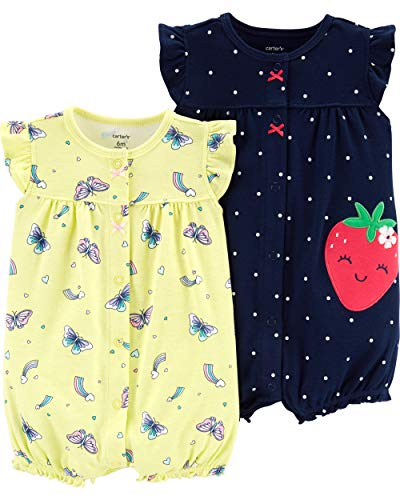 Cuff Flutter (Carter's Baby Girls 2-Pack Romper, Strawberry/Butterfly, Newborn)