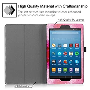 """Famavala Folio Case Cover with Auto Wake/Sleep Feature for 8"""" Fire HD 8 Tablet [7th Generation 2017 / 6th Generation 2016] 8-Inch Tablet (LoveFlower)"""