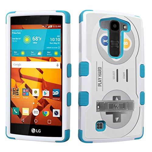 DuroCase LG Volt 2 LS751 Boost Mobile / LG Magna H500 (Released in 2015) Fashion Kickstand Case White & Mint - (Video Game Controller) (Playstation Magna 2)