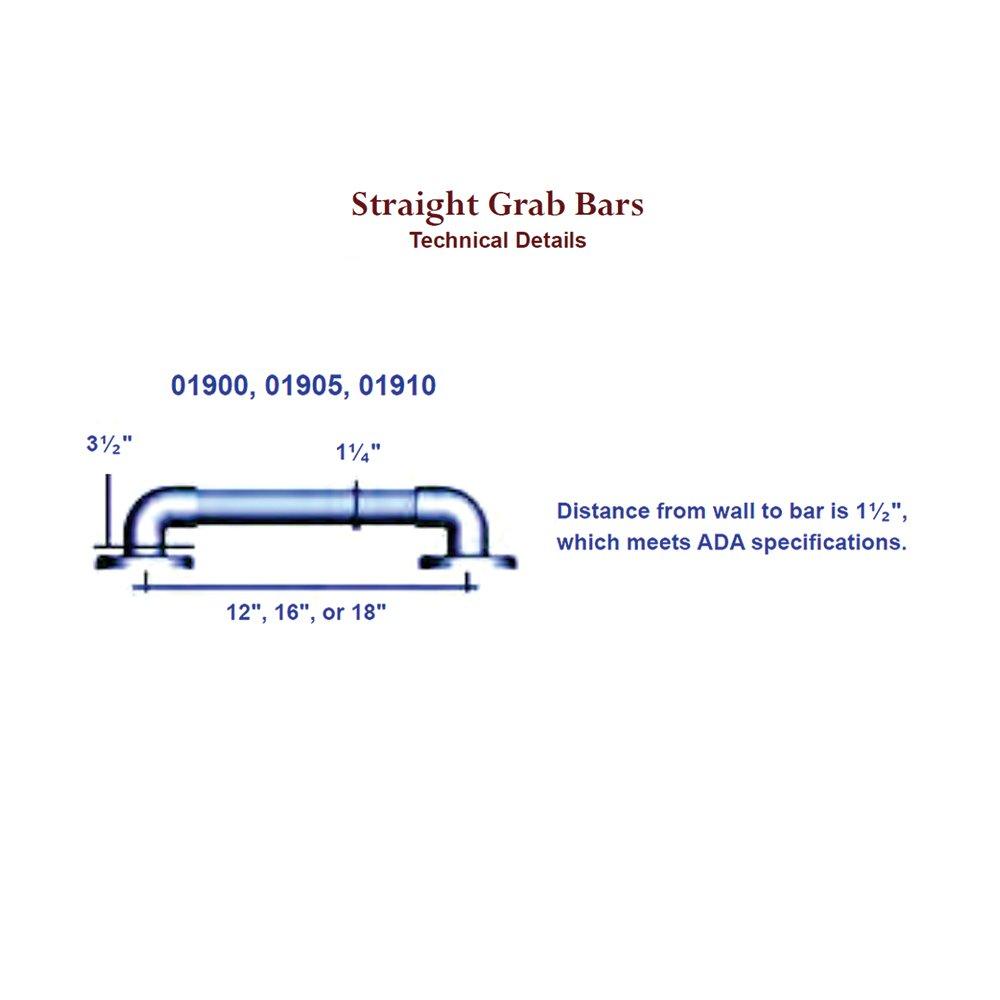 White ARC GB1902-GR Heavy Duty 12-Inch Grab Bar